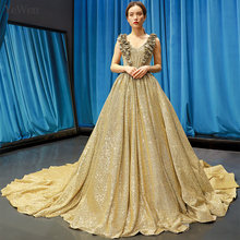 YEWEN Luxury Gold Long A-line Muslim Evening Dress Sexy