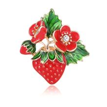 imixlot Fashion Red Strawberry Enamel Brooches For Men Womens Classic Fruits Weddings Party Banquet Brooch Accessories