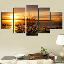 Frameless Sunset Seacape Beautiful Painting 5 Pieces/Set Print Poster Home Decor Art Wall Picture For Living Room