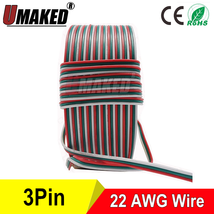 Tinned Copper 22AWG, <font><b>3pins</b></font> <font><b>wire</b></font> cable PVC insulated <font><b>wire</b></font>, 22awg <font><b>wire</b></font> , Electric cable, LED cable, DIY Connect, extend <font><b>wire</b></font> cable image