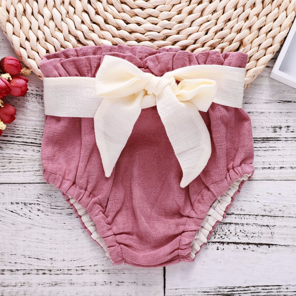 2018 Cute Pink Baby Bloomers Baby Girl   Shorts   Newborn Bloomers Baby Girl Clothes Bowknot Cotton   Shorts   Newborn Panties Fashion