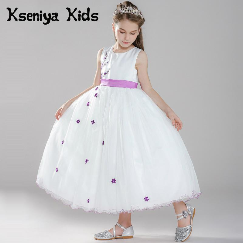 Kseniya Kids Girl Long Princess Dress Flower Lace Girls Evening Dresses Sleeveless Children Graduation Party Dresses 10 12 kseniya kids 2018 spring summer new children s clothing lace princess mesh lace sleeveless girls dresses for party and wedding