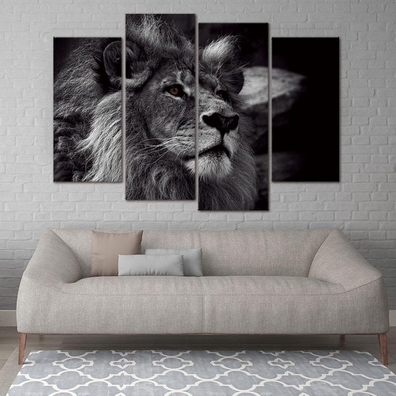 Современная живопись холст изображением животного для украшения голова льва портрет стены Книги по искусству картина черно-белый серый фо...