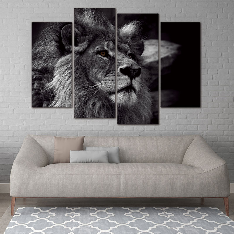 Modern canvas painting Animal Picture For Decoration Lion Head Portrait Wall Art Painting Black And White Gray Pictures