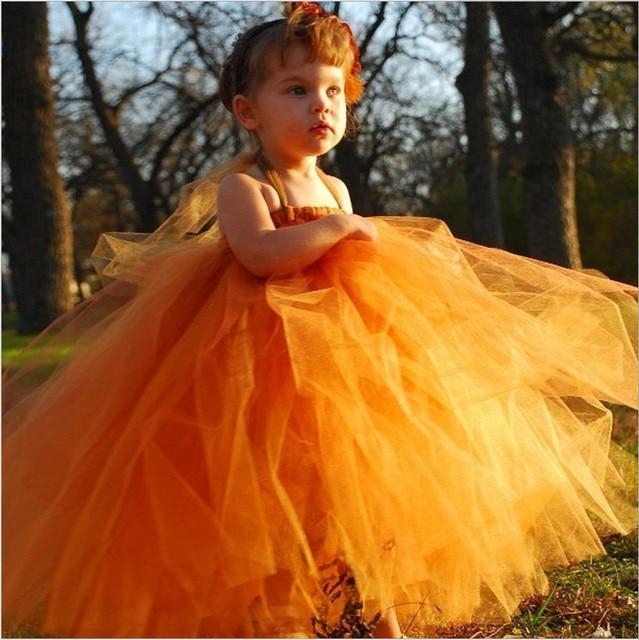 Gebrannte Orange Tutu Kleid Blume Kleid Strap Nette Blumenmädchen ...