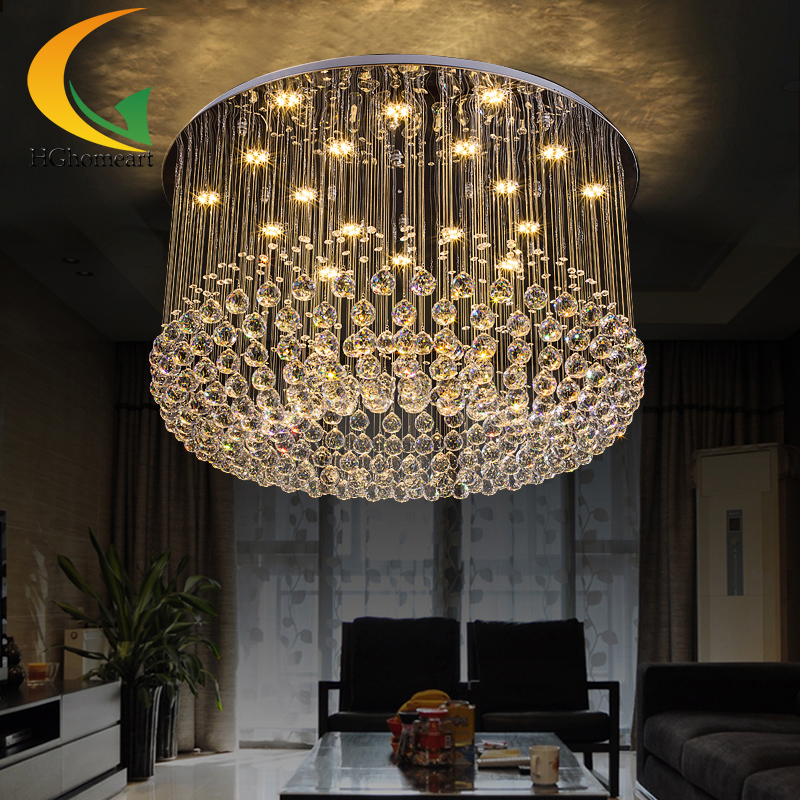 Crystal union simple modern living room lamps round hall ceiling lamp hanging crystal lighting living room dining room modern crystal chandelier hanging lighting birdcage chandeliers light for living room bedroom dining room restaurant decoration