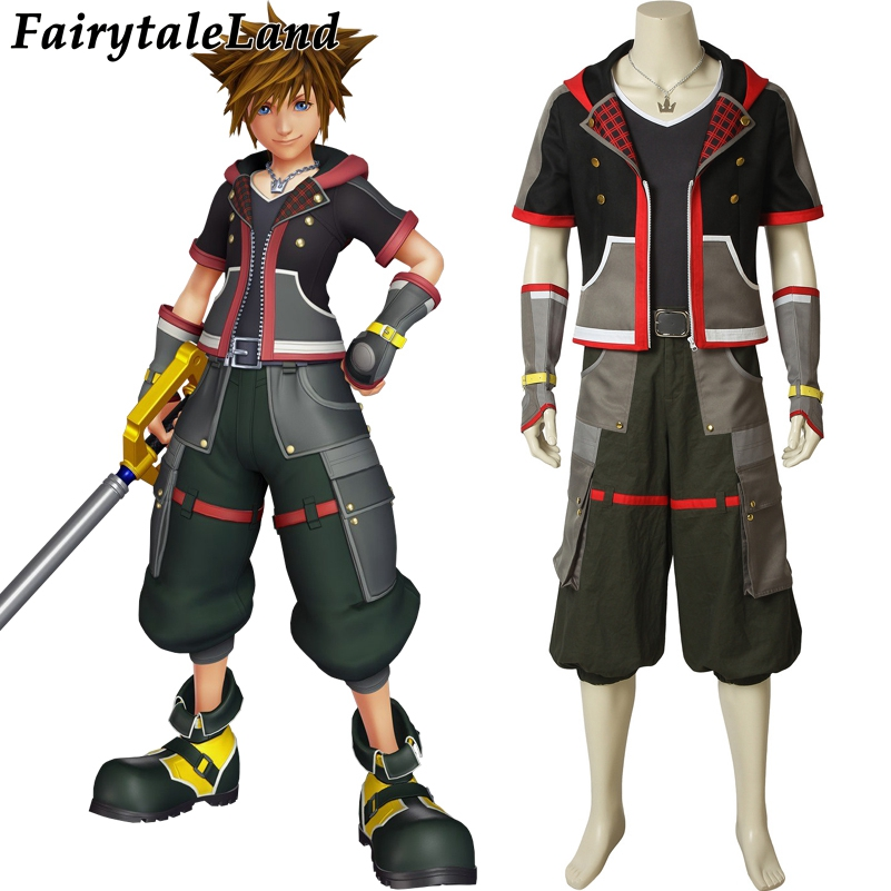 HOT Game Kingdom Hearts 3 Cosplay Sora Costume Anime Carnival party Clothing with Necklace Shirt Shorts pants belt customization