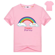Baby girls rainbow t shirt Toddler Kids Summer Short Sleeve Cotton T-shirts Happy Family Print Tees Children Party Birthday Tops(China)
