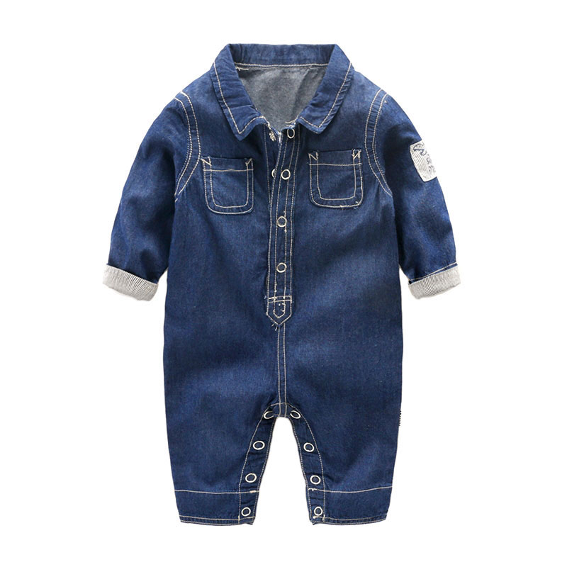 Fashion Denim Rompers for Newborn Baby Boy Spring 2017 Warm Outerwear Sport Jumpsuit Clothes Infant Bebes Boys Romper 0-12M 2017 lovely newborn baby rompers infant bebes boys girls short sleeve printed baby clothes hooded jumpsuit costume outfit 0 18m