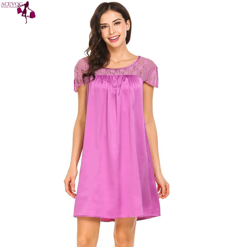 ACEVOG Sleeve Round Short Loose Lace Neck cute Feminino fashion  Nightgown Sleepshirt Split Patchwork Women