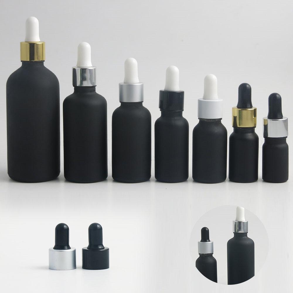200 X 100ml 50ml 30ml 20ml 15ml 10ml 5ml Matt Black Glass Dropper Piepette Bottles Glass Essential Oil Bottle With Dropper