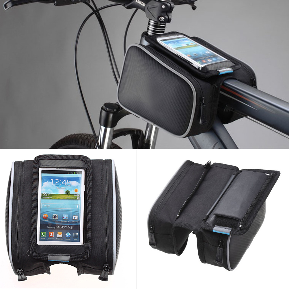 2018 5/5.5 Black High Quality Cycling Bike Bicycle bags panniers Frame Front Tube Bag For Cell Phone MTB Bike Touch Screen Bag universal eva sports gym armband for 4 5 5 0 cell phone white black