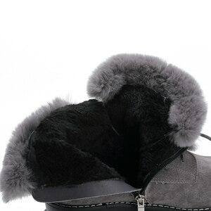 Image 5 - SWYIVY tavşan kürk kış ayakkabı Sneakers kadın yarım çizmeler hakiki deri 2019 kış yeni peluş kürk kar botları sıcak ayakkabı kadın