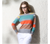 100 Cashmere Sweater Women Pullover Natural Fabric Warm Fashion Blue Black Striped Sweaters High Quality Sale