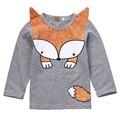 Hot Vender! criança roupas primavera outono crianças tops tees meninas manga longa assentamento camisetas crianças camisetas raposa