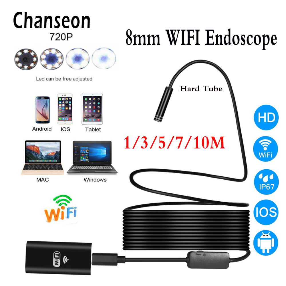 Chanseon 8mm Wifi Endoscope Camera IOS Phone Endoscope HD Wifi Camera 720P Borescope Waterproof Camera Endoscopio Hard Tube
