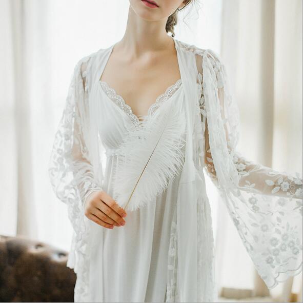 Deux pièces nouveau dames longue robe Royal broderie vêtements de nuit Vintage chemise de nuit en coton vêtements de nuit femmes chemise de nuit en coton chemise de nuit