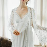 Two pieces New Ladies Long Dress Royal Embroidery Sleepwear Vintage Nightgown Cotton Sleepwear Women Nightgown Cotton Nightdress