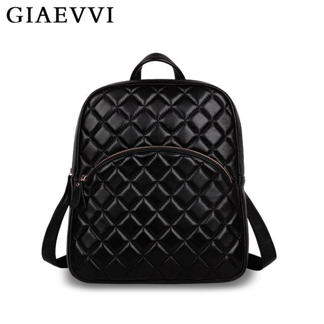 GIAEVVI mini mochila de couro das mulheres novo 2016 sacos de escola para adolescentes de moda de luxo de couro Genuíno bolsa de ombro