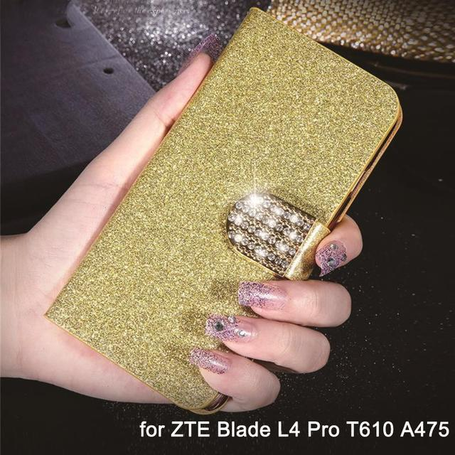 Luxury Leather Flip Case Cover for ZTE Blade L4 Pro T610 ZTE A475 Cases Glitter Cell Phone Coque Wallet Capa Card Holder