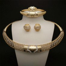 2015 New Design Top quality Women Wedding african costume  Accessories Crystal Gold Plated Hollow Out Big Choker Jewelry Set rhinestone hollow out wedding jewelry set
