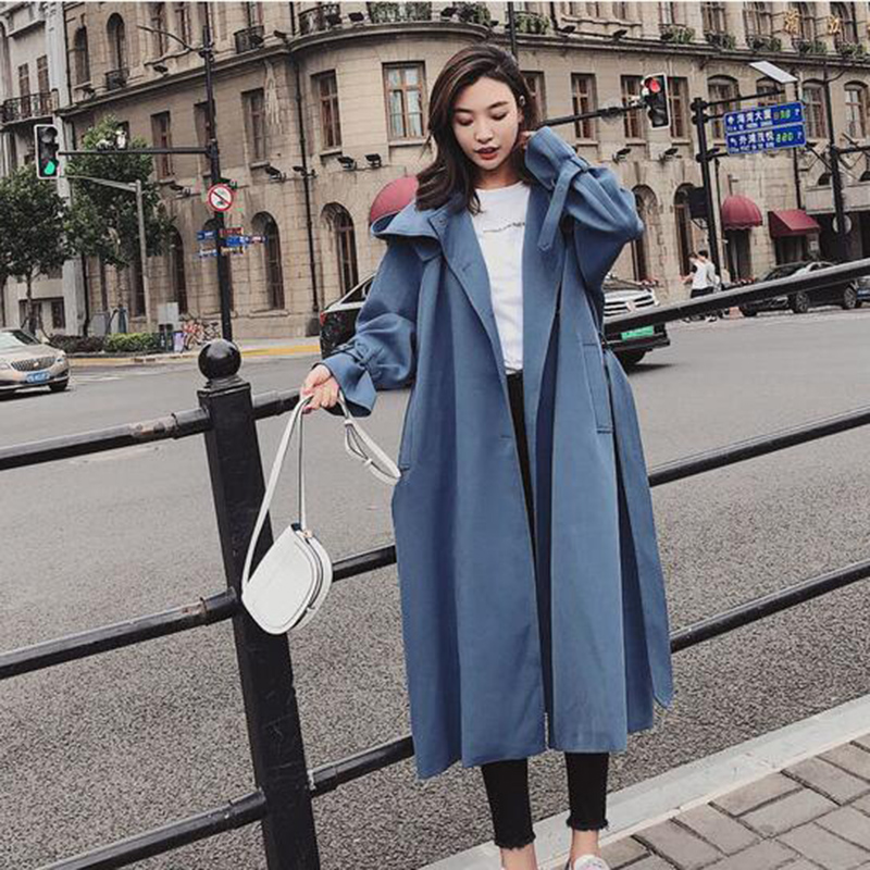 Ceinture Automne Trompette Capot Personnalité Vêtements Haute Bleu Printemps vent Coupe Tranchée Matériel De Femmes Femelle Outwear Tempérament Qualité vwqgHz0