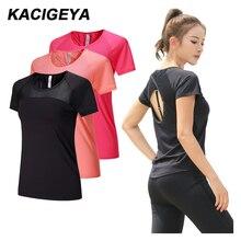 Сетчатые рубашки для йоги, быстросохнущая Спортивная одежда для фитнеса, тренажерного зала, женская одежда для бега, с коротким рукавом, сексуальная открытая спина, женская спортивная футболка для бега