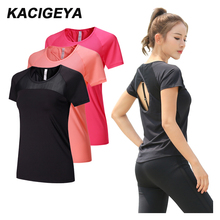 Yoga Mesh Shirts Quick dry Fitness Sports Gym Clothes Female Running Short Sleeve Sexy Hollow Back Female Sport T Shirt Running
