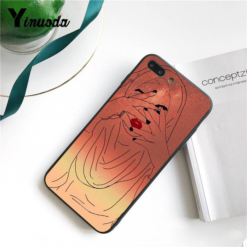 Yinuoda Muslim Islamic Gril Eyes Colorful Cute Phone Case for iPhone 5 5Sx 6 7 7plus 8 8Plus X XS MAX XR 10 Case