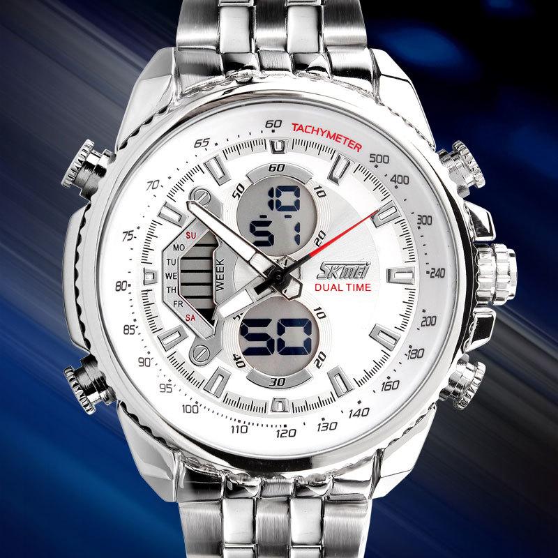SKMEI Men Sport Digital Fashion Casual Watches Stain Steel Silver Wristwatch Led Water resistant Quartz Watch Relogio Masculino 3