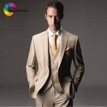 Champagne Slim Fit Wedding Men Suits Groom Wear Tuxedos 3 Pieces (Jacket+Pants+Vest) Bridegroom Blazer