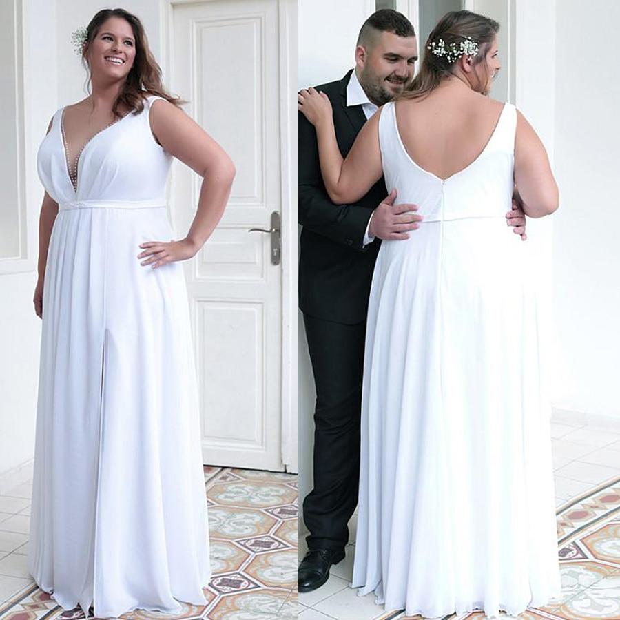 Romantic Chiffon Jewel Neckline Sheath/Column Plus Size Front Slit Wedding Dresses With Belt & Beadings Bridal Gowns