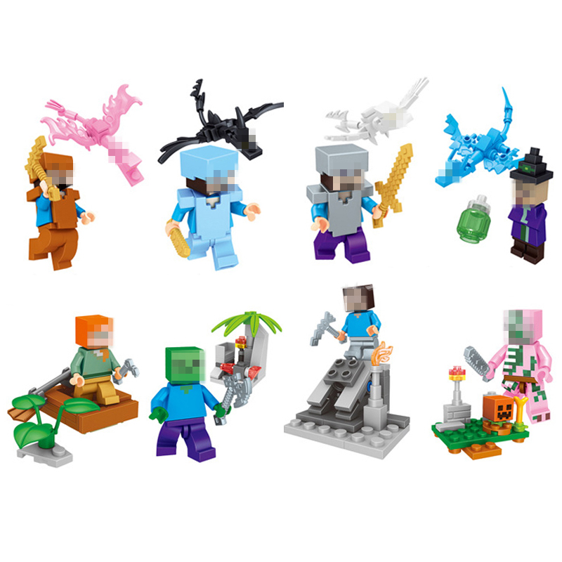8set/lot Minecraft Figures Dragon Ethnic Puzzle My World Building Blocks With Weapons Action Toys Models Gifts For Children #E lepin minecraft 504pcs the forest secret my world figures building blocks bricks fun castle house toys for children gifts