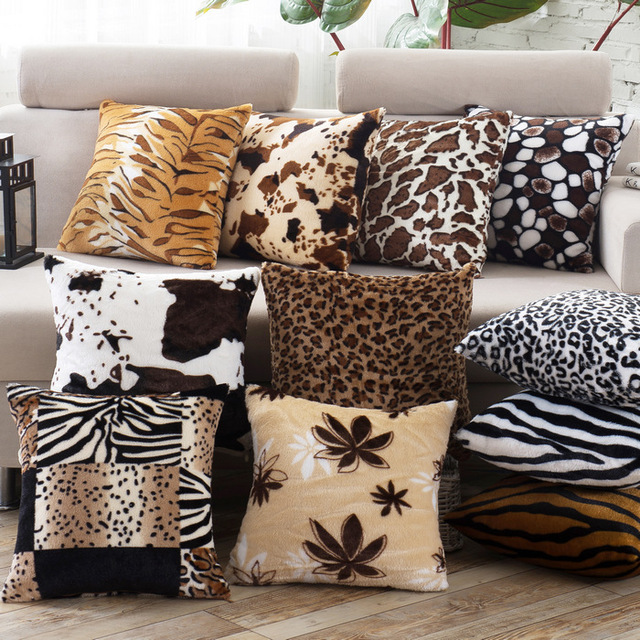Leopard Animal Print Short Plush Square Decorative Cushion Covers For Sofa  / Multi Patterns Throw Pillow