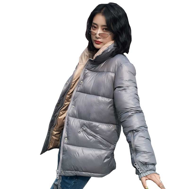 2019 Winter Cotton Women Jacket Short Coat Fashion High Collar Thick Warm Plus Size   Parka   Loose Vintage Padded Outerwear LS022