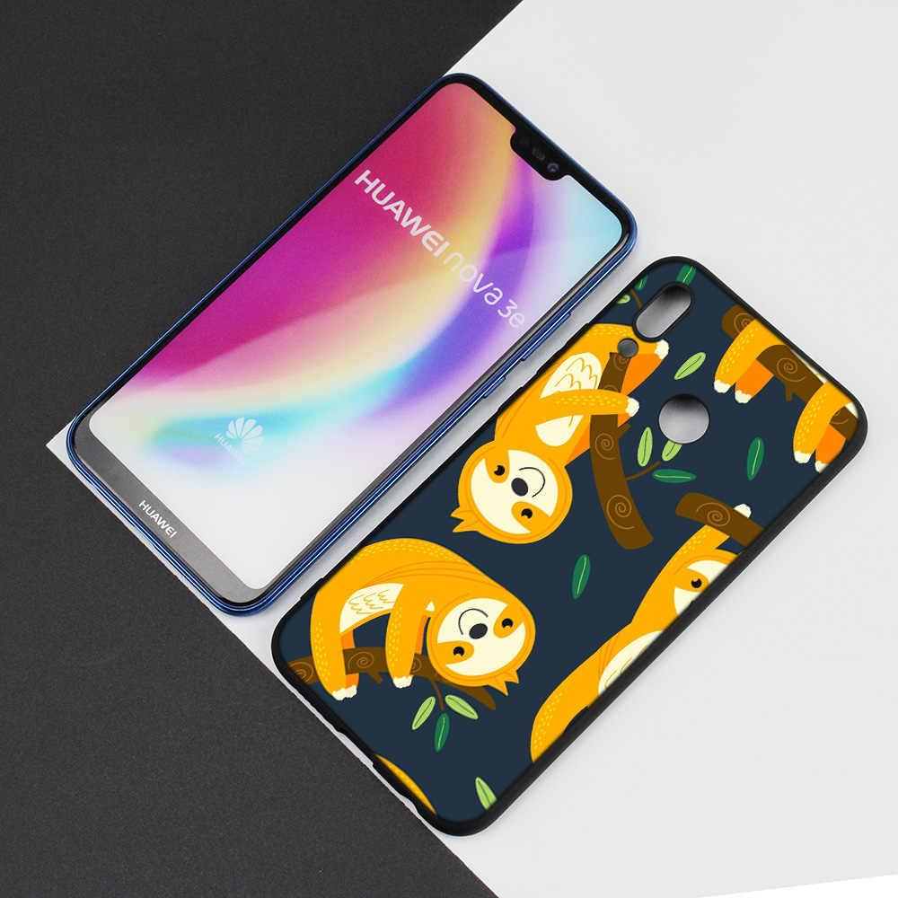 Black Silicone Case Bag Cover for Huawei P30 P20 P10 P9 P8 Mate 10 20 Lite 2017 Mini Pro P Smart Plus 2019 Caffeinated Sloth