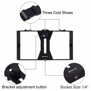 Image 4 - PULUZ Vlogging שידור חי LED Selfie אור Smartphone וידאו Rig ערכות עם מיקרופון קר נעל חצובה הר אביזרים