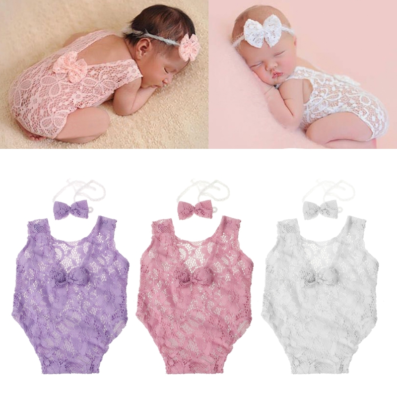 Newborn Photography Props Backless Hollow Bowknot Lace Costume Baby Romper Headband Infant Photo Outfits Baby Girls Photo Props