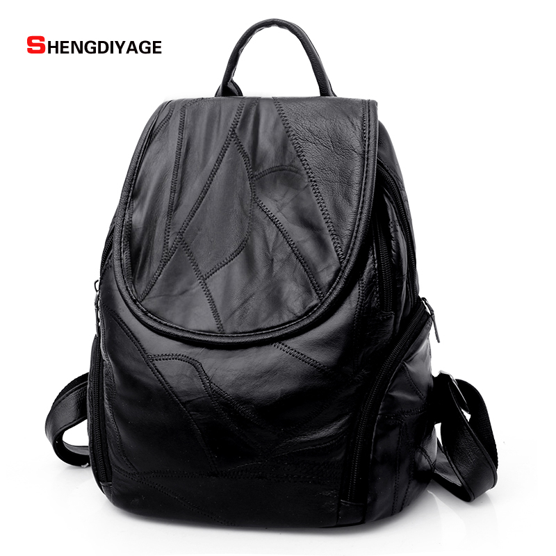 SHENGDIYAGE Women Backpack leather mochila High quality sheepskin fashion Backpack women school bags Casual girl bags