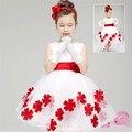 Super Lindo Princesa de Encaje de Flores Vestido de novia Niñas vestidos ropa de Los Niños del vestido menina Arco Zipper Botón Cubierto