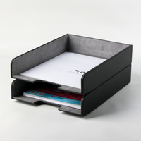 A4 leather wooden office desk file document storage tray box case filing paper documents trays desk organizer rack magazine