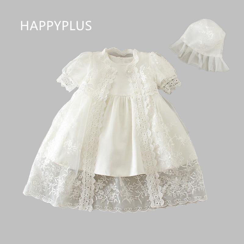Happyplus Newborn Baby Girl White Christening Dressgown Set