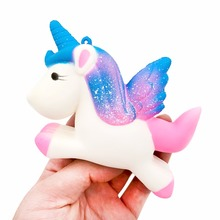 13.5CM Simulation Flying Unicorn Pony Horse Squishy Toys Slow Rising Squeeze Doll Fun Jokes Props Pranks Maker Trick Gift