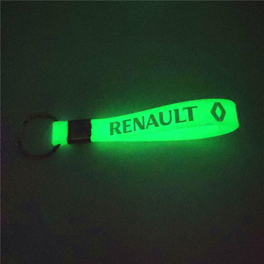 Excellent Luminous Silicone Emblem Badge Car Key Ring for Renault Megane 2 3 Duster Logan Clio Laguna 2 Captur Car Styling jingyuqin 2 buttons silicone key case for renault scenic master megane duster logan clio captur laguna fluence remote fob cover