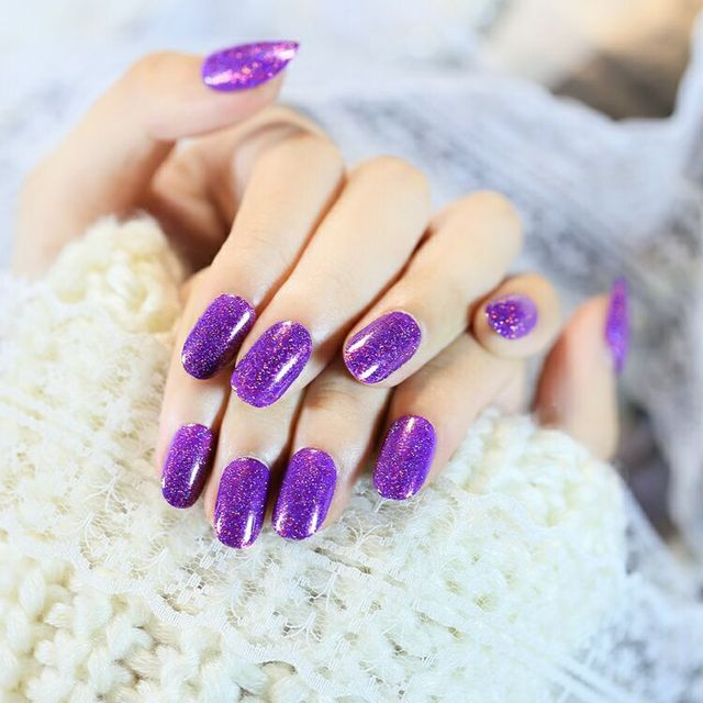 Hot Brand Shining Purple Pink Glitter Short False Nails 24 Pcs Oval Full Artificial Design Acrylic