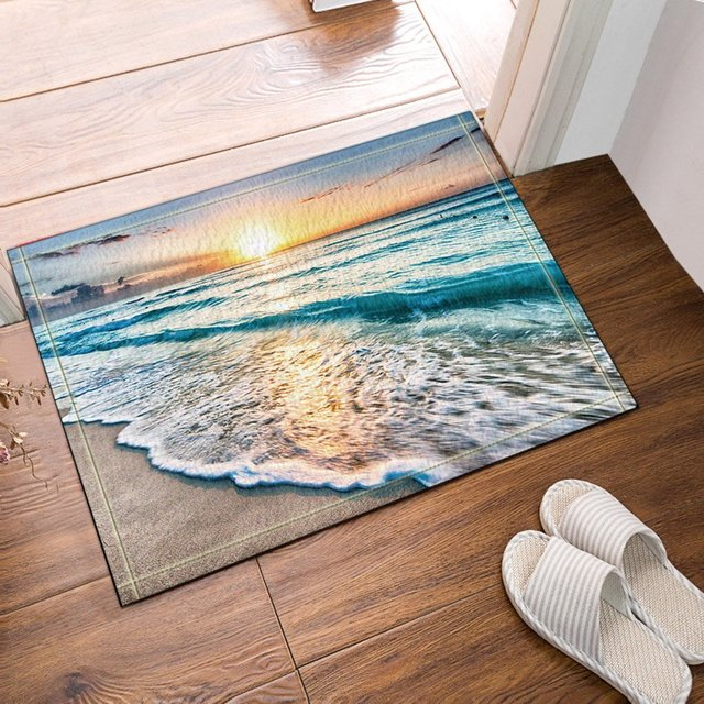 NYMB The Gray Sea Sunset Beach Bath Rugs, Non Slip Floor Entryways Outdoor  Indoor