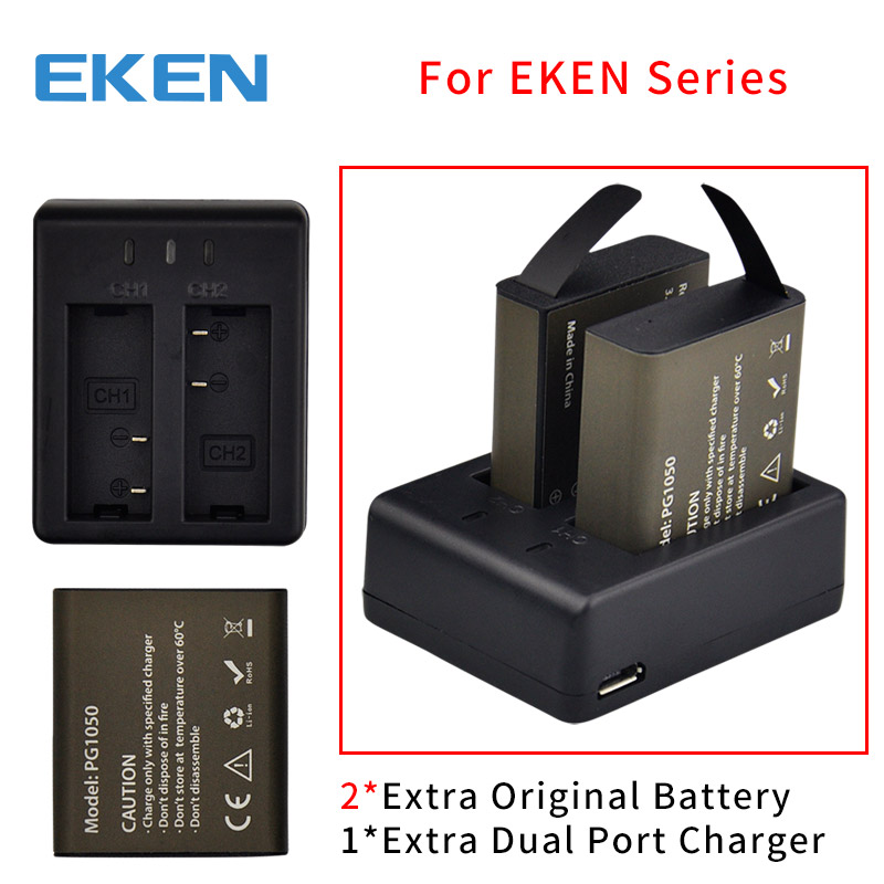 EKEN Original Battery dual Charger For EKEN H9 H9R H3R H6S H5S plus H8R H8 pro H9R plus for SJCAM SJ4000 SJ5000 action camera tuyu aluminum alloy rugged cage protective case for eken h8r h5s h6s h9r plus v50 gopro hero 4 3 camera with go pro uv lens cap