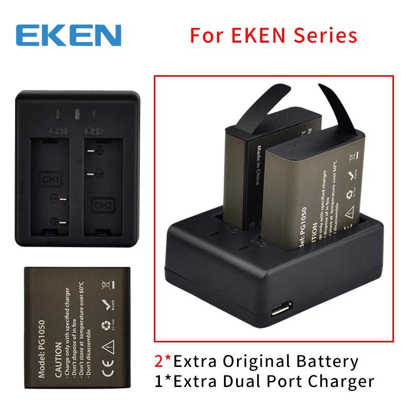 EKEN Original batería cargador dual para EKEN H9 H9R H3 H3R H8PRO H8R H8 pro V8S para SJCAM SJ4000 SJ5000 cámara de Acción