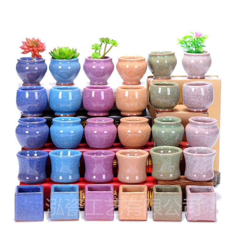 Ceramic flower pot ice crack mini porcelain thumb for 6 ceramic flower pots