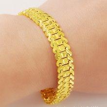 Браслет на запястье цепочка однотонный желтый позолоченный женский